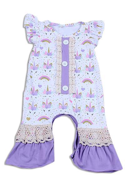 121b4fd7c Purple Unicorn Print Ruffle Baby romper - Early View Ultrasound